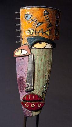Kimmy Cantrell Sculpture -visions flow from his soul. Art Sculpture, Pottery Sculpture, Ceramic Sculptures, Masks Art, Clay Masks, Metal Art, Wood Art, Kimmy Cantrell, Art Visage