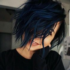Are you looking for dark blue hair color for ombre and teal? See our collection full of dark blue hair color for ombre and teal and get inspired! Natural Black Hair Color, Blue Black Hair Color, Dark Blue Hair, Cool Hair Color, Short Blue Hair, Unique Hair Color, Color Red, Navy Blue Hair Dye, Dyed Black Hair