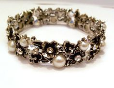 White Floral Bracelet Silver Jewelry Wedding Night Out Every Day Glamour. $29.00, via Etsy.
