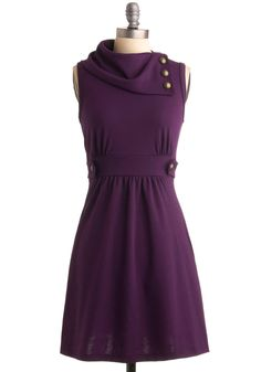 Coach Tour Dress in Violet - Purple, Solid, Buttons, A-line, Sleeveless, Casual, Fall, Show On Featured Sale, Mid-length, Exclusives