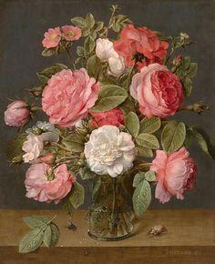 Jacob van Hulsdonck, Roses in a Glass Vase, c. 1640 - 1645
