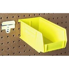 "Medium Pegboard Hanging Bin System by TRITON PRODUCTS. $66.95. Medium Pegboard Hanging Bin System BinKits The first patented pegboard bin mounting system for both 1/4"" and 1/8"" pegboard. This kit contains 24 yellow bins and BinClips that allow you to store small or loose parts on your pegboard storage system. The bins are easy to remove and replace as you need them at the jobsite. 7-3/8""L x 4-1/8""W x 3""H Bin Dimentions. 16.00 L. 13.00 W. 8.00 H."