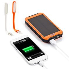 {10000mAh Solar Battery Panel}Orange Dual USB Port Portable Charger Backup External Battery Pack ; Power Bank for iPhone 6,6+,5S, 5C, 5, 4S, 4, iPad Air, Mini Samsung Galaxy S6,S5, S4, S3 Note 4,3,2, Android Smartphone and Tablets ect; Two Mini Mini USB LED Light for Free.