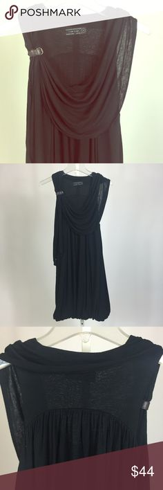 Allsaints black jersey dress US 6, UK 10 Great black jersey dress by Allsaints. Subtle bubble hem and flattering neckline cowl drape. Cute leather detail on right shoulder strap. All Saints Dresses