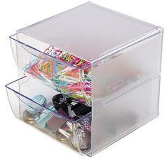 Deflecto deflect-o® Two Drawer Cube OrganizerClear Plastic {affiliate link}