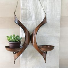 Hanova of Pasadena Hanging Plant or Candle Holder | Mid Century Modern| Rust Colored Enameled Steel by PebbleCreekGoods on Etsy