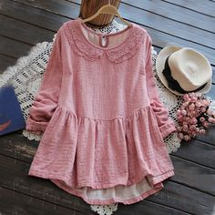 Buy Mori Girl Clothes Dress on Mori Girl の森ガール.Mori Pink Girly Laced Cotton Dress Plus Size Blouse Mg636 is a must to make an amazing outfit. You can wear it in any occasion - school, office, dates, and parties.