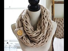 Arm Knit Scarf with Button Cuff - takes about 30 to 60 minutes to make.