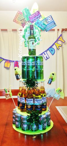 A beer cake I made for Dante's Birthday. He enjoyed this much more than a regular cake. Possible Father's Day gift too(;