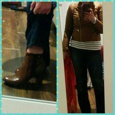 Tan leather boots & jacket & boot cut jeans! Loving it! Happy autumn