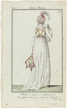 Journal des Dames et des Modes, Costume Parisien, 1 novembre 1798, An 7, (71) : Turban et Spencer..., Anonymous, Sellèque, Pierre de la Mésangère, 1798