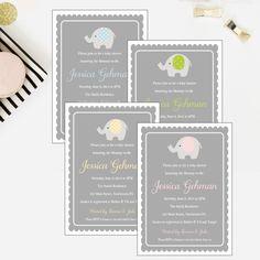 Elephant Baby Shower Invitation -   - Pink Poppy Party Shoppe - 1