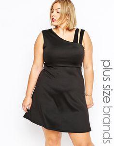 8f39438d1784 Praslin Plus Size Skater Dress With Shoulder Detail