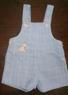 Vtg Healthtex Baby Boy Romper 9M Blue Plaid Jon Jon Shortall Puppy Dog #Healthtex #DressyEverydayEaster