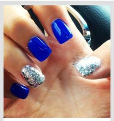 Nails, nail art, nail design, blue, silver, sparkly, simple