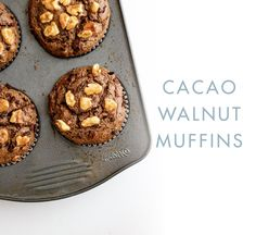 Chocolate Walnut Muffins: If you've got a hankering for something chocolatey, try these just-sweet-enough cacao walnut muffins. Gluten Free Muffins, Gluten Free Treats, Healthy Treats, Healthy Protein, Protein Snacks, Healthy Food, Healthy Eating, Chocolate Muffins, Chocolate Flavors
