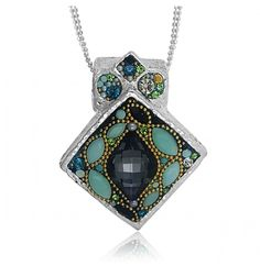 Good things come in all shapes and sizes. This stunning pendant is proof of that with gorgeous Swarovski crystals shimmering in all shapes and colors. The diamond shaped sterling silver bezel showcases marquise cut mint accent stones surrounding a breathtaking grey crystal, accented by gold beads and aqua crystals. Everything about this pendant is unique. Add this piece to your collection and be guaranteed that you're the only one who owns this one-of-a-kind creation.