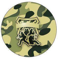 Uau! Veja o que temos para Rótulo Tubetes, Toppers e Latinhas Kit Militar Camuflado