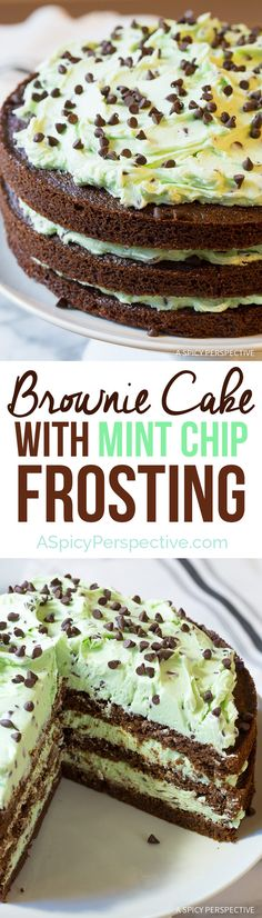Brownie Cake with Mint Chip Frosting recipe from @spicyperspectiv