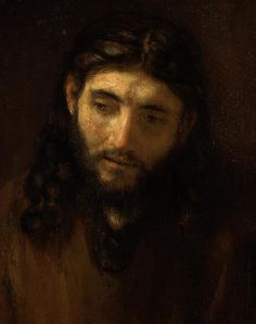 Rembrandt – Head of Christ (circa Oil on oak, inserted into a larger oak panel H. Johnson Collection, Philadelphia Museum of Art. This isn't the stereotypical portrait of Jesus. Rembrandt Paintings, Rembrandt Portrait, Dutch Golden Age, Jesus Face, Philadelphia Museum Of Art, Dutch Painters, Wow Art, Portraits, Kandinsky