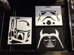 Boba Fett, Storm Trooper, Darth Vader. Star Wars series. Each character is painted in acrylic on 8x10 stretched canvas