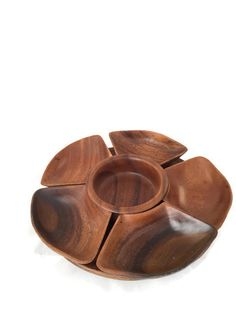 Acacia Monkey Pod Lazy Susan, Wood Turn Table, Sectioned, Serving Tray, Made in Philippines, Vintage Home Decor #wood #homedecor #turntable