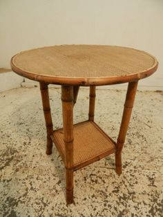 side-table-2-tier-table-end-table-vintage-circular-occasional-table-round-bamboo