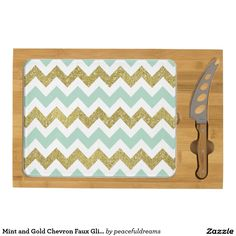 Mint and Gold Chevron Faux Glitter Stripes Rectangular Cheese Board