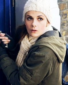 The lovely Louise Brealey. Is it just me, or does it kind of look like she's opening the door to the TARDIS?