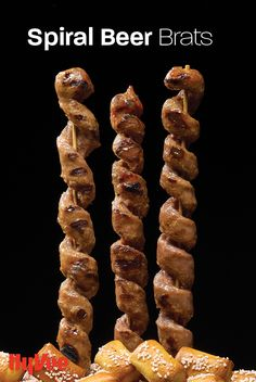 Upgrade your grilling recipes with these spiral beer brats served with homemade beer cheese. Beer Bratwurst, Beer Brats, Chicken And Veggie Recipes, Brats Recipes, Homemade Beer, Beer Cheese, Pastry Brushes, Good Burger, Kitchen Recipes