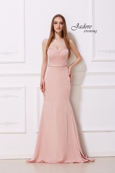 Fit and Flare Back Train Strapless Neckline Fit and Flare with back train detail Dress. Trumpet Gown, Trumpet Skirt, Strapless Prom Dresses, Mermaid Prom Dresses, Crepe Fabric, Timeless Elegance, Fit And Flare, Classy, Gowns