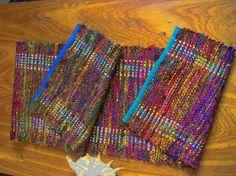 Handspun Sari Silk Table Runner Hand woven by VermiroSpinWeave