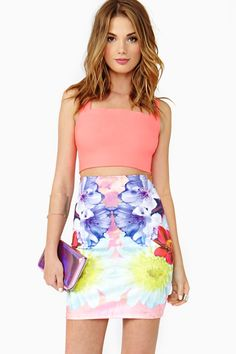 #fashion #style #outfit #Pretty #cute #skirt #bright #pastel #floral #colorful