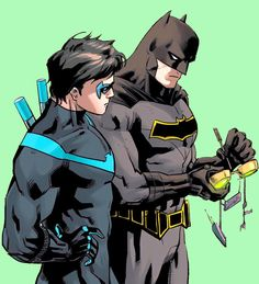 Nightwing & Batman. Dick Grayson & Bruce Wayne. <3