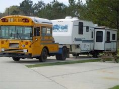 How's this for hauling your RV? Love the school bus idea, talk about creative RVing! Bus Camper, Rv Bus, School Bus Conversion, Camper Conversion, Cool Trucks, Big Trucks, Pickup Trucks, Motorhome, Converted Bus