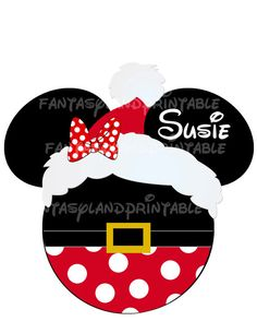 Printable File with Minnie head Santa!! Print it yourself file.    Order is for 1 digital file, emailed to your Paypal email address.