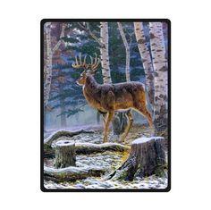amazing deer artcool elk pattern Fleece Blankets and throws 58 X 80 inch Large -- BEST VALUE BUY on Amazon