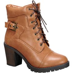 Nature Breeze Tan Lace-Up Awe Boot ($25) ❤ liked on Polyvore featuring shoes, boots, ankle booties, ankle boots, lace up booties, short boots, lace up bootie and high heel boots