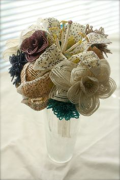 Custom Beaded Flower Bridal Bouquet.