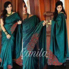 Whatsapp on 9496803123 to customise. Saree Embroidery Design, Embroidery Blouses, Hand Embroidery, Cutwork Saree, New Saree Blouse Designs, Sarees For Girls, Silk Saree Kanchipuram, Churidar Designs, Bridal Silk Saree