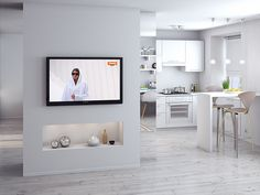 White small apartment with bright interior designed by and for girls whom love staring at the sun and seeing themselves surrounded by mirrors. Studio Apartment Layout, Small Apartment Interior, Studio Apartment Decorating, Apartment Design, Open Kitchen And Living Room, Living Room Modern, Living Room Designs, Tv Stand Room Divider, Room Divider Walls