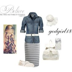 """#Modest doesn't mean frumpy. #DressingWithDignity www.ColleenHammond.com """"First Day of School"""" by godgirl18 on Polyvore"""