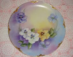 Haviland French Hand Painted Pansy Plate