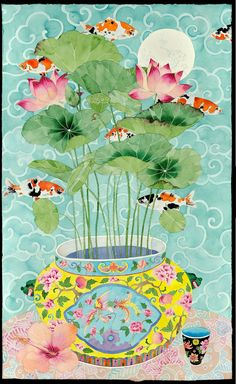 colourblind image of lotus and koi carp by gabby malpas Floral Illustration, Illustration Noel, Korean Art, Asian Art, Chinese Painting, Chinese Art, Watercolor Paintings, Original Paintings, Limited Edition Prints