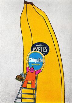 """1968-69 poster advertisement : """"Chiquita bananen"""".   Artist : Karin Hohenadel-Weiss / Karl-Heinz Daniel. Art Director : Karl-Heinz Daniel. Advertising Agency : Young & Rubicam, Sandmeier Ag, Bern, Switzerland."""