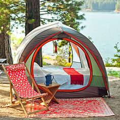 Neat idea:  a mosquito-proof tent, just big enough to hold the mattress from the RV.  For those nights when the weather is perfect for sleeping outside.