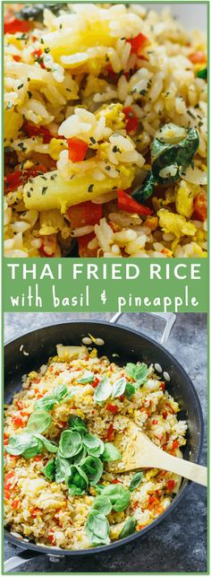 Thai fried rice with basil and pineapple - Here's my favorite fried rice dish: a spicy Thai fried rice with fresh basil and pineapple. This recipe is vegetarian-friendly and easy to make, and the perfect solution for your Thai fried rice cravings! - savorytooth.com