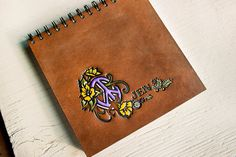Floral Peace Symbol Sketchbook  Custom Text or Name  by MesaDreams, $40.00