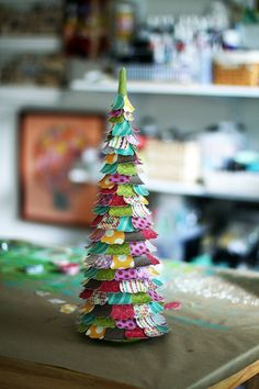 DIY scrap paper tree on a foam cone