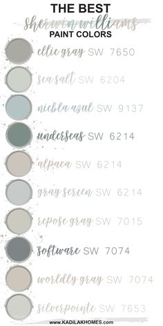 We put together our top 10 most popular Sherwin Williams paint colors! These paint colors are sure to inspire your next room makeover. - The Best Sherwin Williams Paint Colors! Best Sherwin Williams Paint, Sherwin Williams Agreeable Gray, Worldly Gray Sherwin Williams, Sherwin Williams Sea Salt, Rainwashed Sherwin Williams, Sherwin Williams Alpaca, Lazy Gray Sherwin Williams, Sherwin Williams Popular Gray, Passive Sherwin Williams